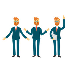Businessman cartoon character in different poses vector