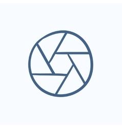 Camera shutter sketch icon vector image
