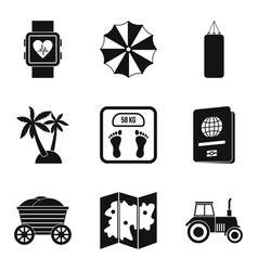 Carefree life icons set simple style vector