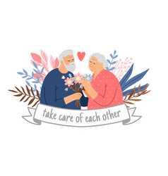 caring couple grandparents vector image