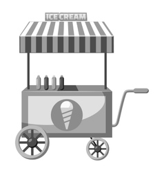 Cart with ice cream icon gray monochrome style vector