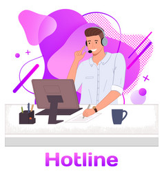 character male call center hotline online vector image