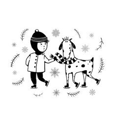child and goat skiing vector image