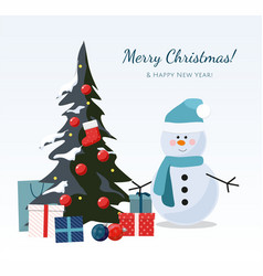 christmas tree snowman with gift boxes vector image