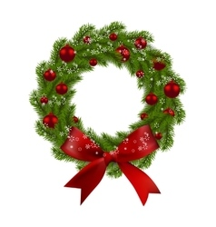 Christmas wreath green fir branches with red vector