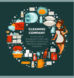 Cleaning company promotional emblem with maid in vector