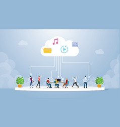 Cloud computing technology with various people vector