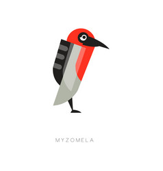 Colored myzomela composed of simple geometric vector