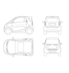 Compact smart car in outline small compact vector