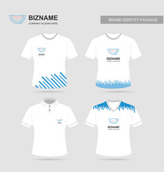 Company design t- shirts with blue theme with vector