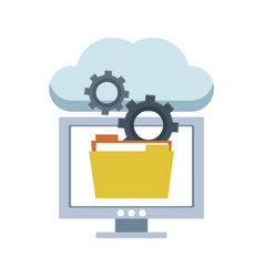 computer with folder in cloud vector image