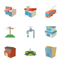 Construction of city icons set cartoon style vector image