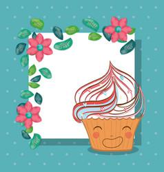 cute cupcake with flowers kawaii character vector image