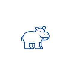 cute hippo line icon concept cute hippo flat vector image
