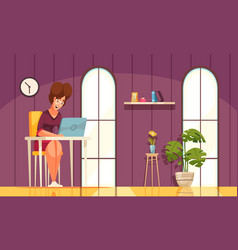 Daily routine background with working woman vector