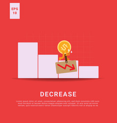 Decrease rate and lost income iconic money bring vector