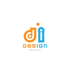 di d i orange blue alphabet letter logo vector image