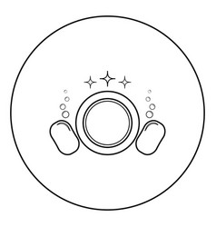 Dishwashing concept clearing dishes plate vector