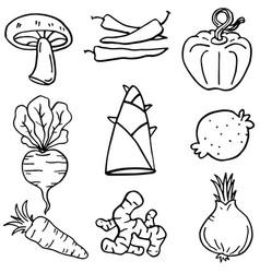 Doodle vegetable art vector