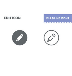 edit icon fill and line flat design ui vector image