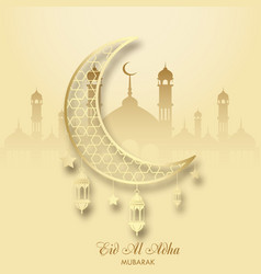 Eid al adha greeting card with hand drawn mosque vector