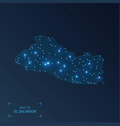 El salvador map with cities luminous dots - neon vector