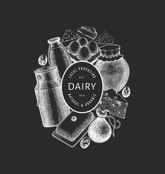 Farm food design template hand drawn dairy on vector