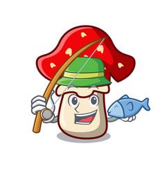 Fishing amanita mushroom mascot cartoon vector