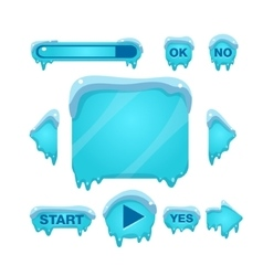 Flash Game Screen And Buttons Covered With Ice vector