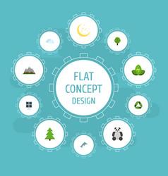flat icons landscape eco energy wood vector image