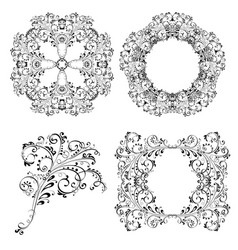 floral ornamental decorations collection vector image