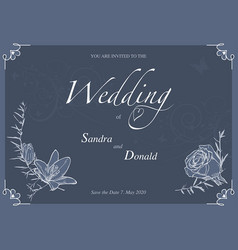 floral wedding invitation vector image