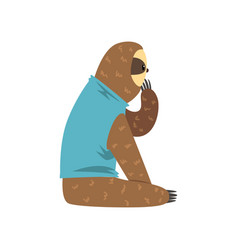 funny sloth in blue t shirt sitting lazy exotic vector image