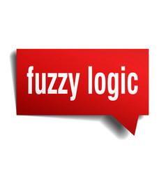 Fuzzy logic red 3d speech bubble vector
