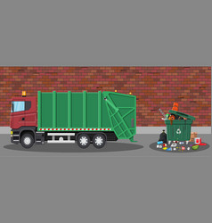 garbage car and trash vector image