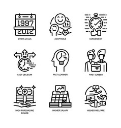 Generation z icons set vector
