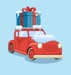 gift delivery snow car is carrying a box vector image