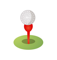 golf ball icon on red tee green grass field vector image