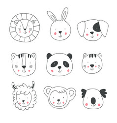 hand drawing animal faces vector image