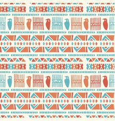 hand drawn ancient greek birds pattern blue orange vector image