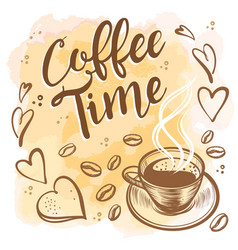 hand drawn coffee time vintage background vector image