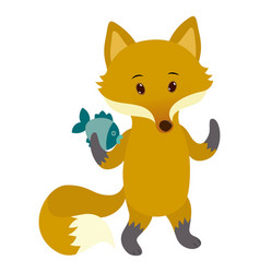 hand drawn fox natural colors vector image
