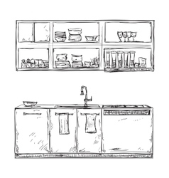 Hand drawn kitchen furniture vector