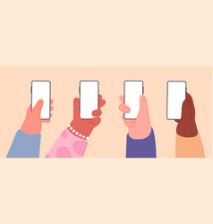 hands with empty phones smartphone with blank vector image