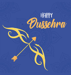 happy dussehra festival india gold bow vector image