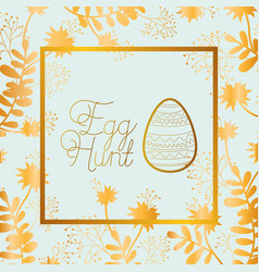 happy easter golden frame with egg painted and vector image