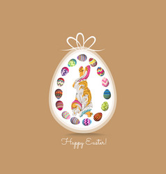 happy easter greeting card with eggs and doodle vector image