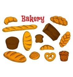 Healthy bakery and pastry sketches vector image