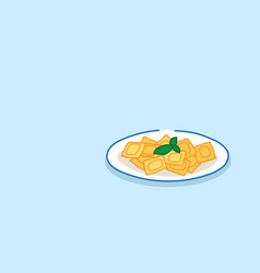 heaped plate pasta with basil restaurant food vector image