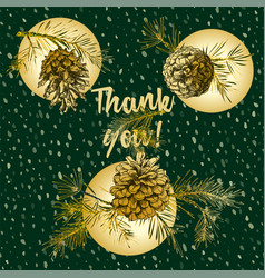 Holiday card with golden realistic botanical vector